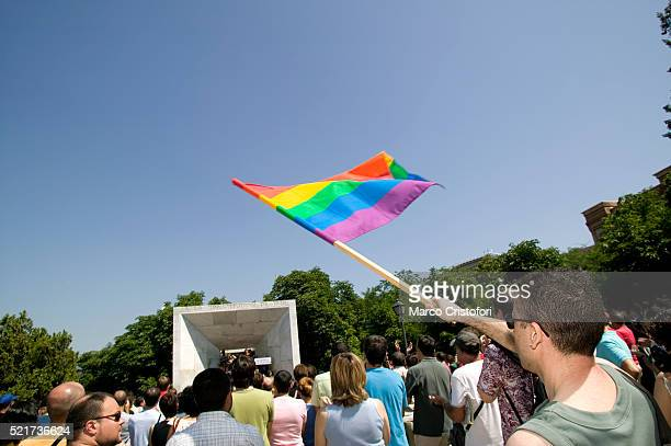 Man Waving Rainbow Flag at Gay Pride Parade