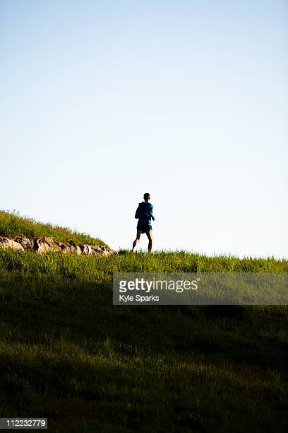 a man wearing a blue jacket runs along a trail in rockefeller state park in sleepy hollow, new york. - westchester county stock pictures, royalty-free photos & images