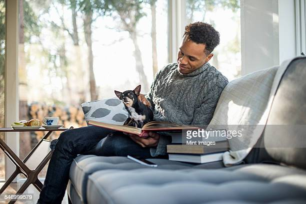 Man wearing a grey roll-neck jumper sitting on a sofa with a dog on his lap, looking at a book.
