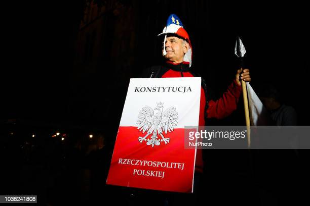 Judge Dariusz Mazur during the protest at the Main Square against government plans for sweeping changes to Polands judicial system Krakow Poland on...