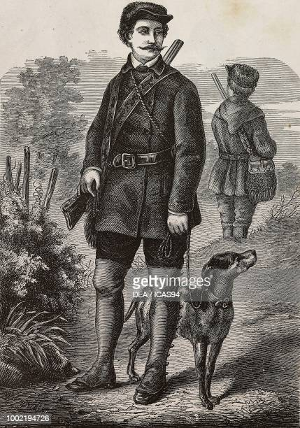 Man wearing a hunting suit engraving from La Mode Illustree No 46 November 16 1873