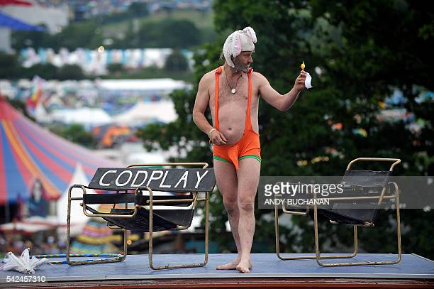 A man wearing a mankini on the second day of the Glastonbury Festival of Music and Performing Arts on Worthy Farm near the village of Pilton in...