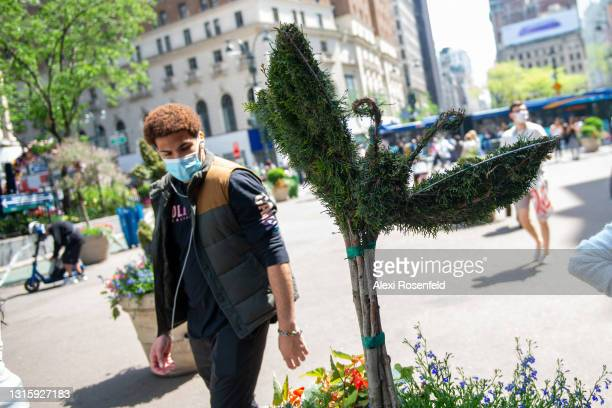 Man wearing a mask looks at a topiary at the Macy's Flower Show at Macy's Herald Square amid the coronavirus pandemic on May 02, 2021 in New York...