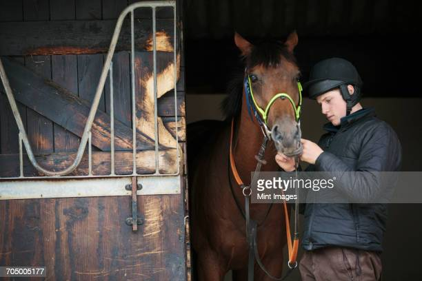 Man wearing a riding helmet standing in a box stall with a brown horse.