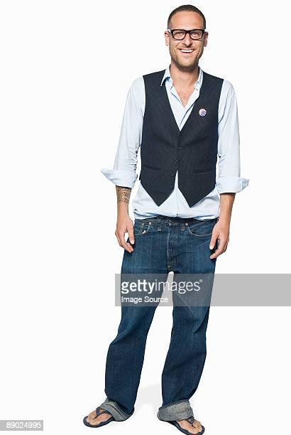 man wearing a waistcoat - waistcoat stock photos and pictures