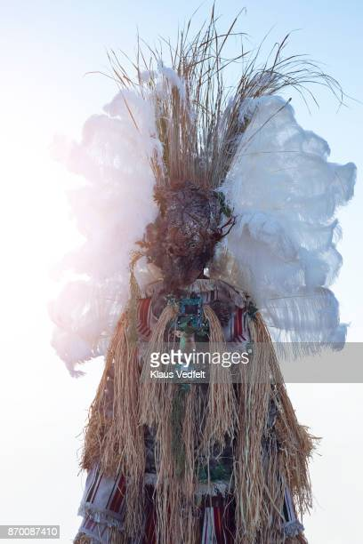 Man wearing amazing witch doctor inspired hybrid costume with old computer parts
