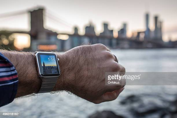 Man Wearing Apple Watch in New York City