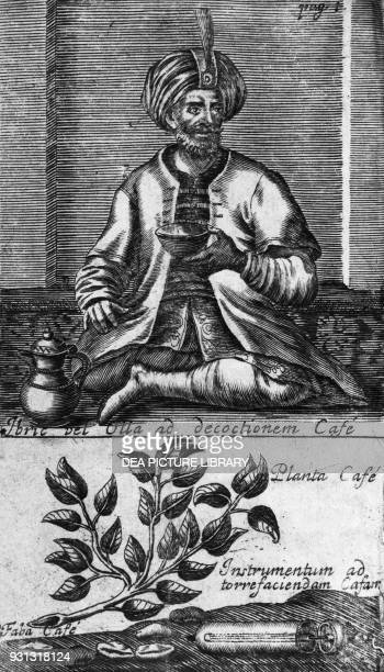 Man wearing Arabic clothing drinking coffee with a coffee plant and a roasting tool for in the lower section engraving from Novi tractatus de potu...