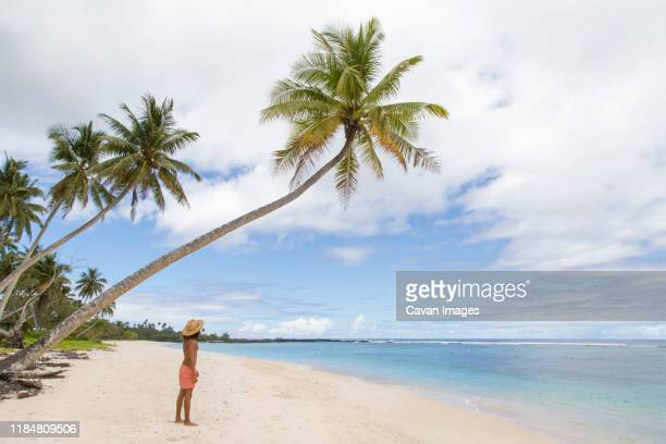 man wearing blue singlet and shorts, staring at blowholes and ocean - samoa stock pictures, royalty-free photos & images