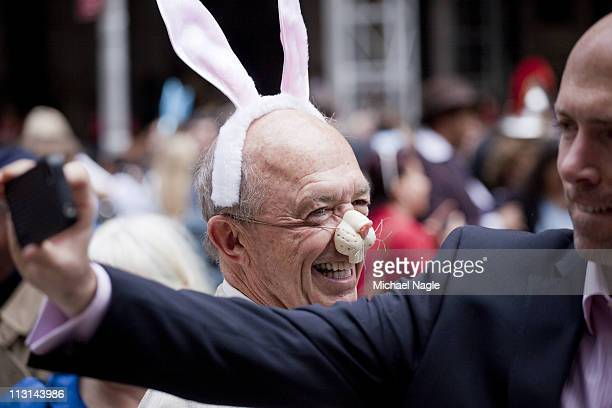 Man wearing bunny ears and matching nose takes part in the 2011 Easter Parade and Easter Bonnet Festival on April 24, 2011 in New York City. The...