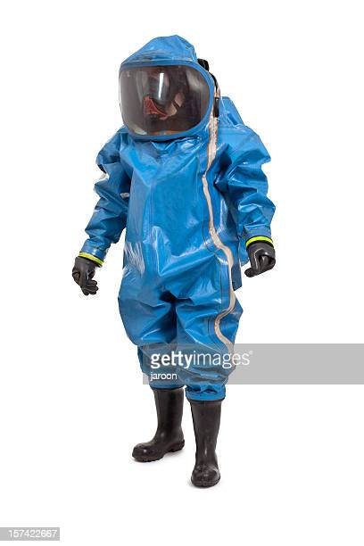 man wearing chemical protection suit - hazmat stock pictures, royalty-free photos & images