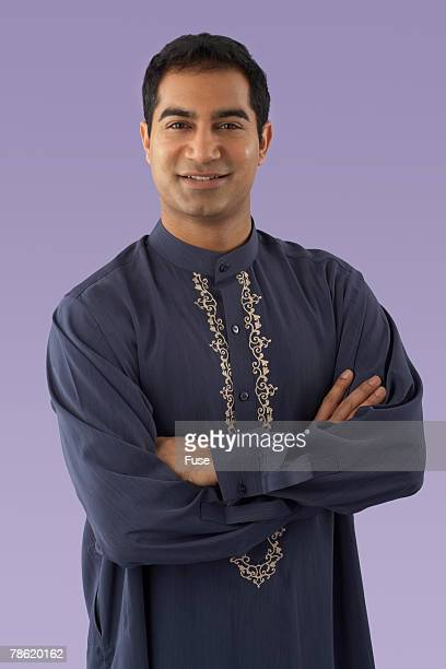 Man Wearing Embroidered Shirt