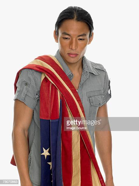 man wearing flag - betsy ross flag stock pictures, royalty-free photos & images