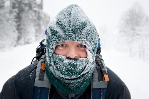 Man wearing frosty face mask - gettyimageskorea