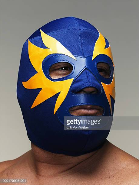 Man wearing mask, close-up