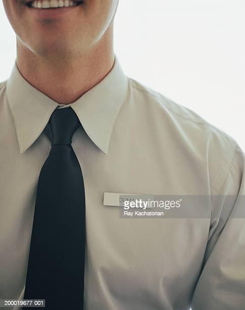 Man wearing name tag