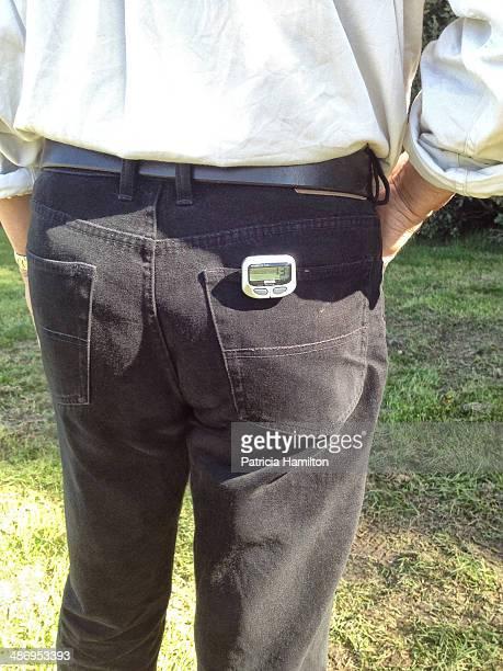 Man wearing pedometer