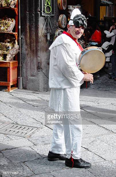 Man wearing Pulcinella Mask Clothes