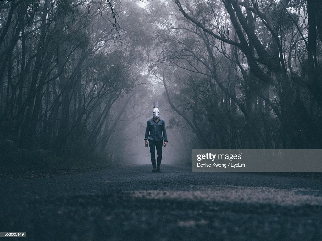 Man Wearing Rabbit Mask On Forest Road : Stock Photo