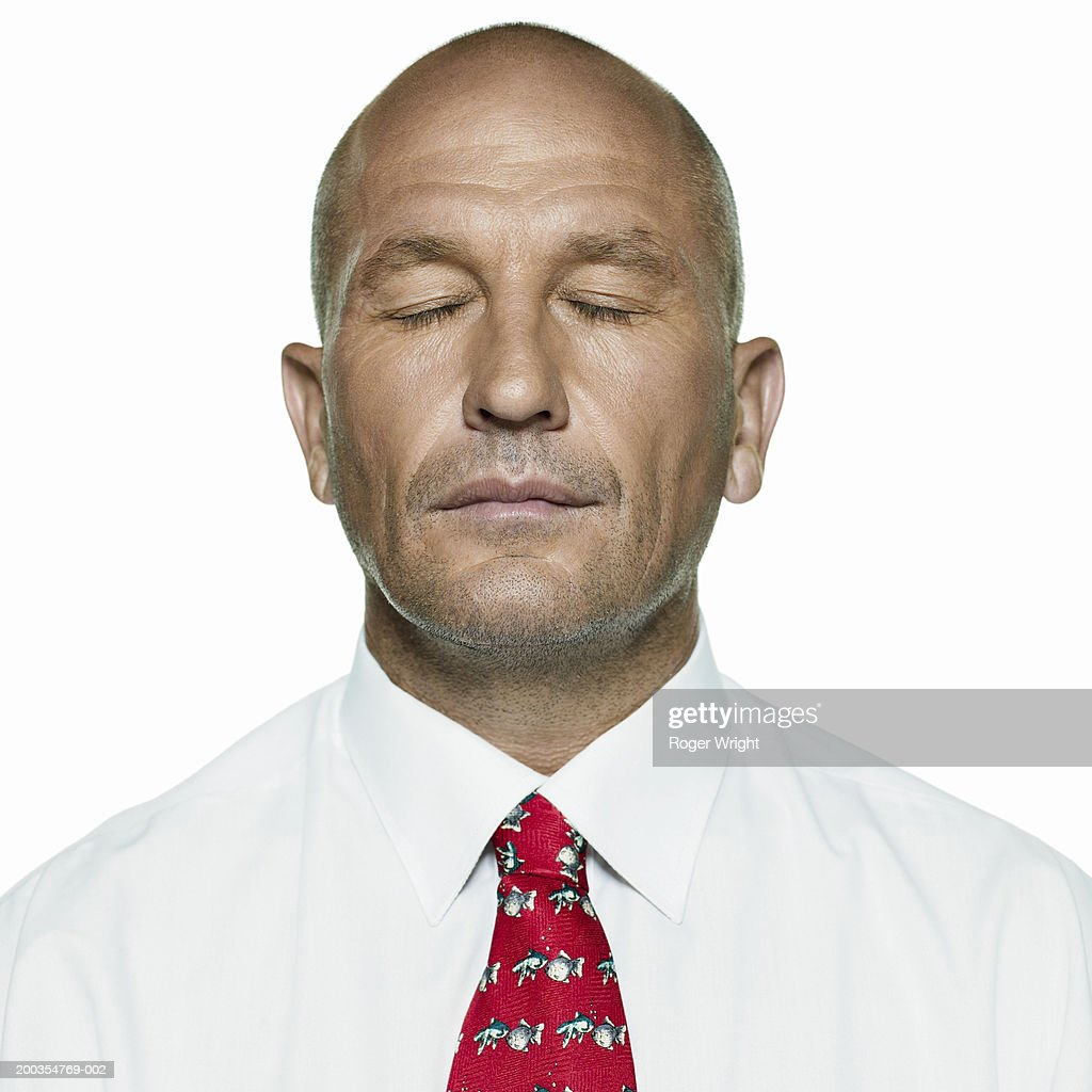 Man Wearing Red Tie Eyes Closed Closeup Stock Photo ...