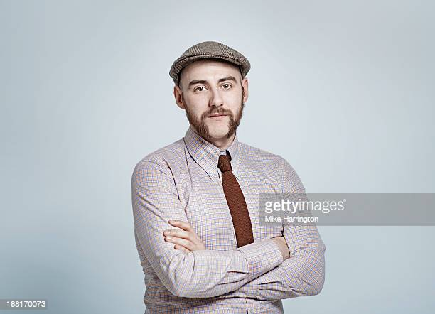 man wearing retro clothes looking to camera. - shirt and tie stock pictures, royalty-free photos & images