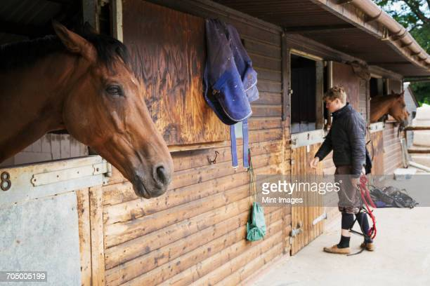 Man wearing riding gear standing by a box stall at a stable. A horse looking out of the stable.