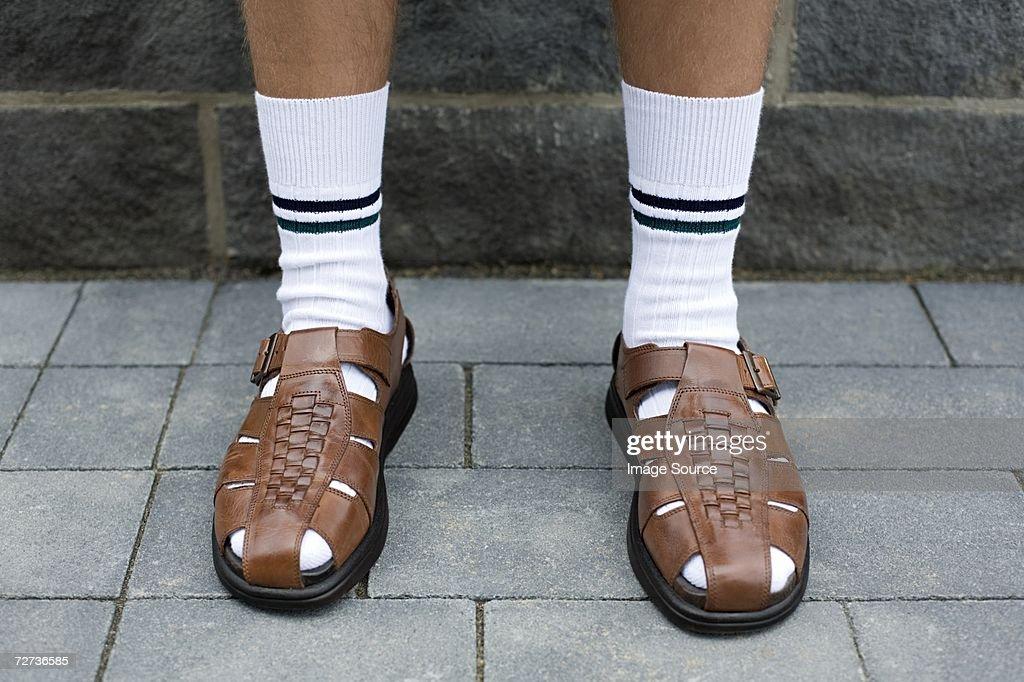 Uomo con sandals : Foto stock