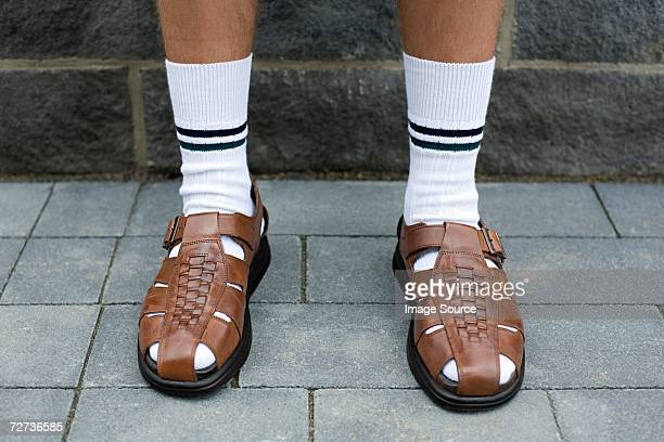 man wearing sandals - nerd stock pictures, royalty-free photos & images
