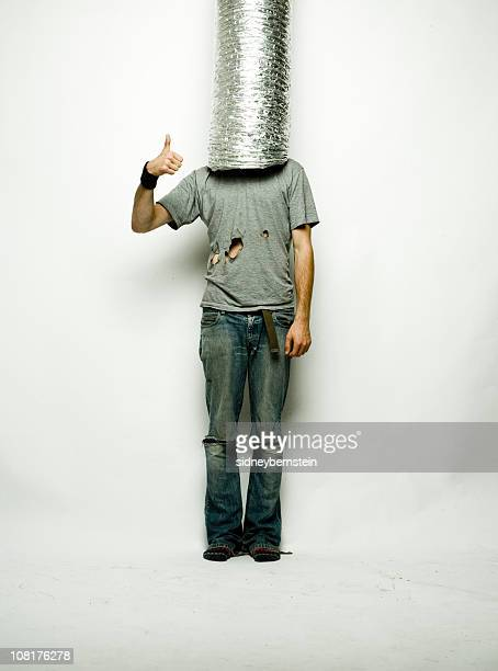 man wearing silver tubing on head and giving thumbs up - headless man stock pictures, royalty-free photos & images