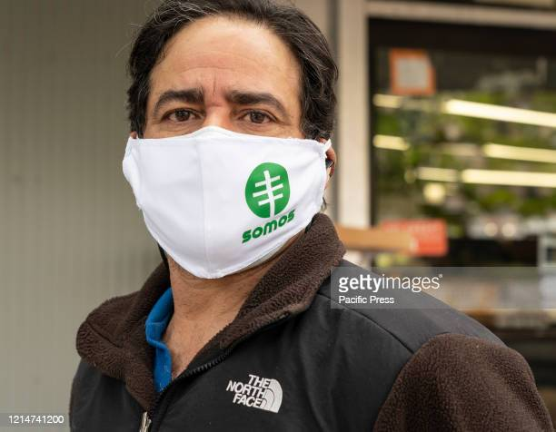 A man wearing special face mask waits for antibody swab tests for COVID19 at SOMOS Community Care site in Washington Heights Latino community SOMOS...