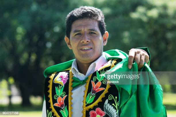 man wearing traditional peruvian clothing - peruvian culture stock pictures, royalty-free photos & images