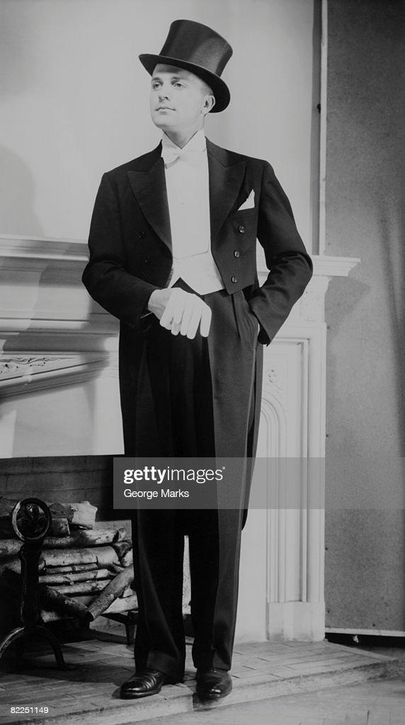 Man wearing tuxedo, indoors : Stock Photo