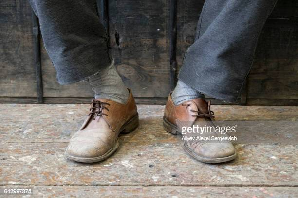Man wearing vintage shoes