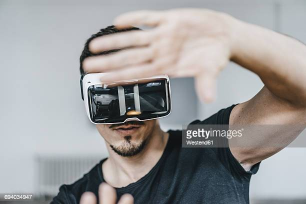 Man wearing VR glasses