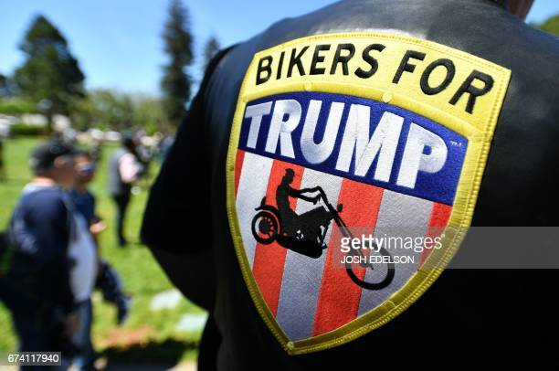 A man wears a Bikers for Trump jacket during a rally in Berkeley California on April 27 2017 Conservative firebrand Ann Coulter on April 26 2017...