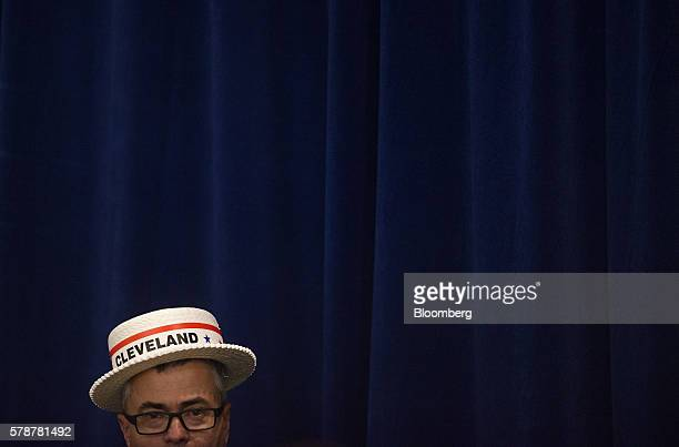 A man wears a hat reading Cleveland during a goodbye reception with Donald Trump 2016 Republican presidential nominee not pictured at the Westin...
