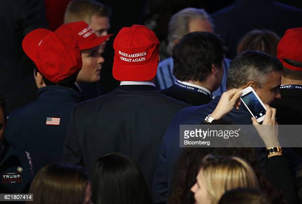 A man wears a 'Make America Great Again' hat during an election night party for 2016 Republican Presidential Nominee Donald Trump at the Hilton...