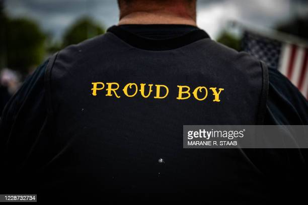 Man wears a Proud Boy vest as several hundred members of the Proud Boys and other similar groups gathered at Delta Park in Portland, Oregon on...