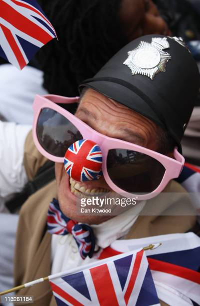 Man wears a Union Jack on his nose prior to the Royal Wedding of Prince William to Catherine Middleton at Westminster Abbey on April 29, 2011 in...
