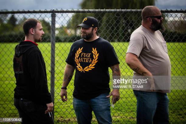 Man wears an anti-antifa shirt as members of the Proud Boys and other similar groups attend a rally at Delta Park in Portland, Oregon on September...