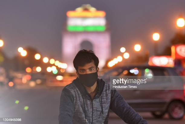 Man wears protective mask following few positive cases of Coronavirus, on March 3, 2020 in New Delhi, India.