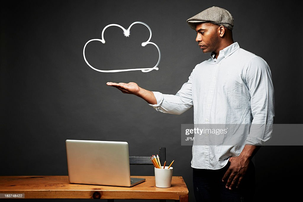 Man weighing his problem : Stock Photo