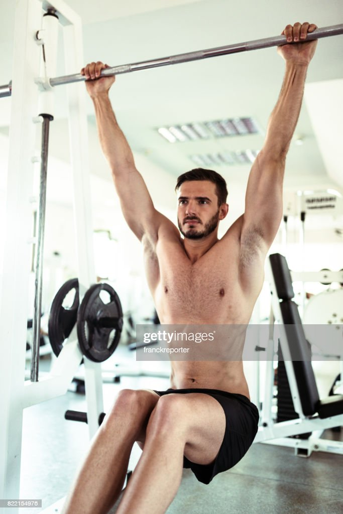 man weightlifting in the gym : Stock Photo