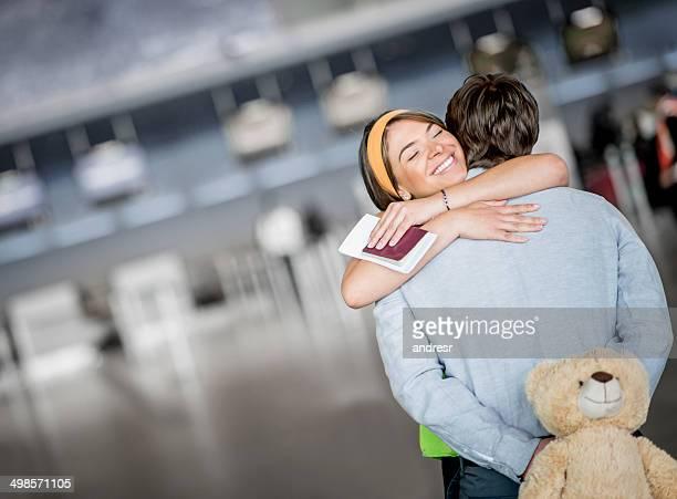 Man welcoming his girlfriend