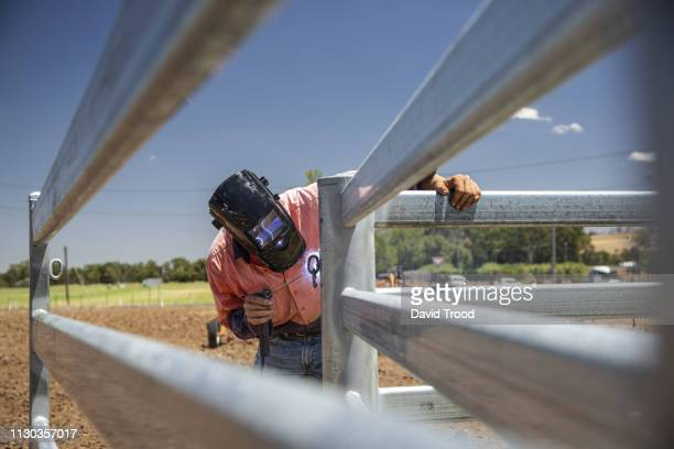 man welding a fence on a farm - tamworth australia stock pictures, royalty-free photos & images