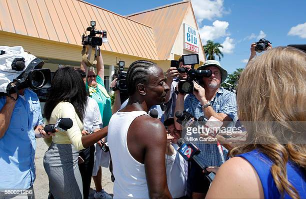 A man who identified himself only as Carlton speak with reporters about his experience with the shooting outside of Club Blu where two people were...