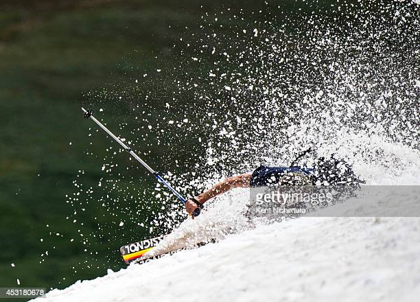 A man who only gave his name as Trey wipes out during the 49th running of the Epworth Cup an unofficial ski race atop Corona Pass on Sunday July 13...
