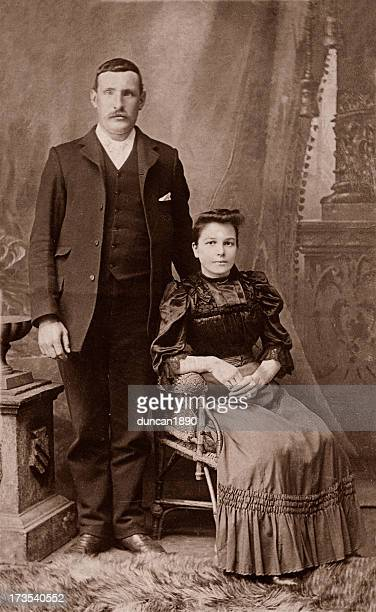 man & wife - victorian stock pictures, royalty-free photos & images