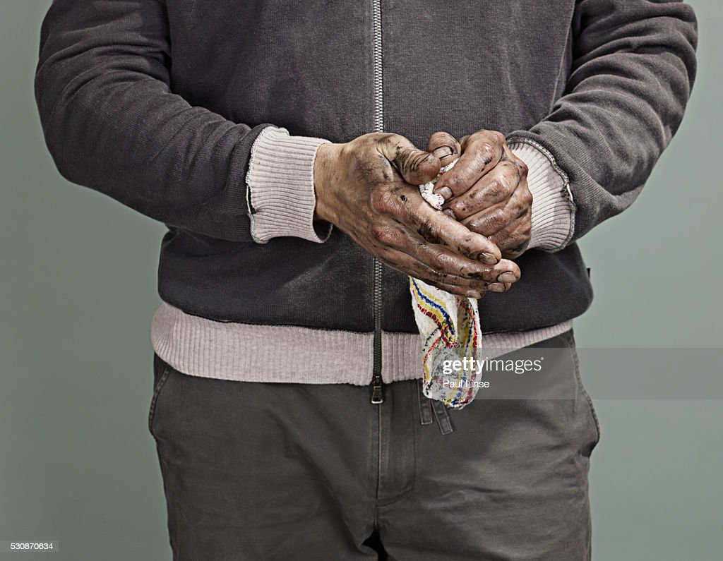 Man Wiping his Hands : Stock Photo