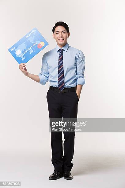 Man with a card model